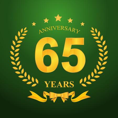 65th: Anniversary emblems 65-anniversary template design Illustration
