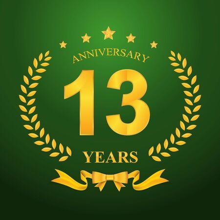 13th: Anniversary emblems 13-anniversary template design Illustration