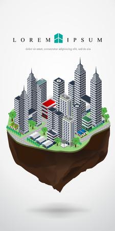 floating: isometric city landscape floating in the sky, floating city , floating urban,sky city,vector illustration.