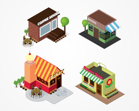 show case: Vector illustration of buildings that are shops for services. Set of nice flat shops. Different Showcases - coffee shop, bakery shop, bookshop, flower shop.