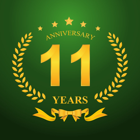11 number: Anniversary emblems 11-anniversary template design Illustration