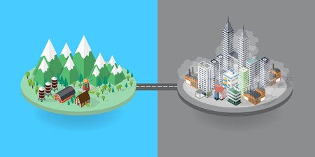 pollutants: Flat design vector concept illustration: urban and village landscape. Environmental pollution and environment protection