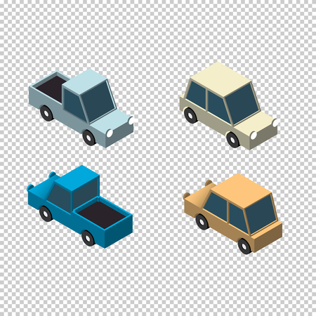 3d icons: Isometric car and pick up 3d icons set isolated vector illustration Illustration
