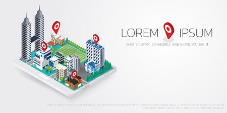 city center: Flat map GPS navigation Isometric landscape city Center. Illustration