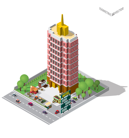Vector Isometric icon representing hostel or hotel building with cars ,coffe shop , flowers shop , bakery shop and trees on the street nearby