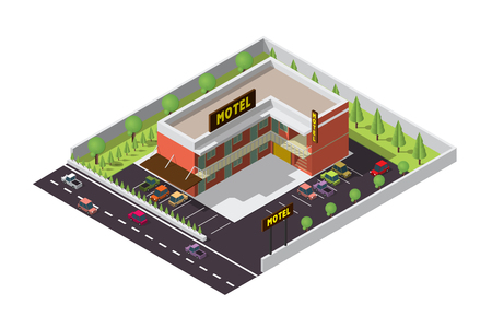 building lot: Vector isometric infographic element representing suburban motel or hotel building near the road with cars, parking lot and neon sign