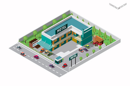 cars parking: Vector isometric infographic element representing suburban motel or hotel building near the road with coffee shop, bakery shop, cars, parking lot and neon sign Illustration
