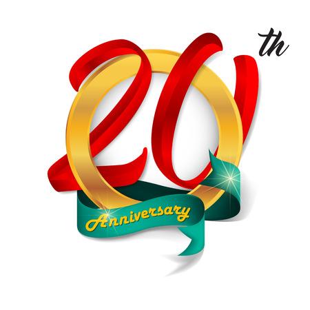Anniversary emblems 20 anniversary template design Ilustração Vetorial