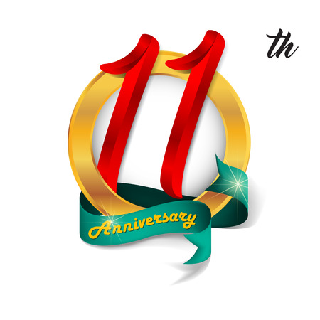 11th: Anniversary emblems 11 anniversary template design
