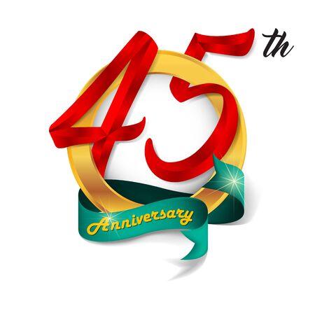 45th: Anniversary emblems 45-anniversary template design