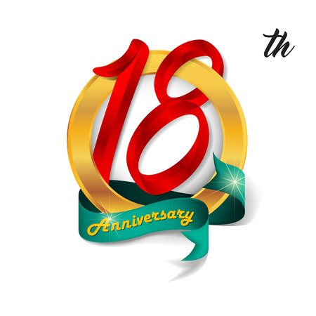 18th: Anniversary emblems 18 anniversary template design
