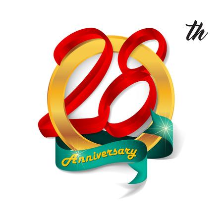 28: Anniversary emblems 28 anniversary template design