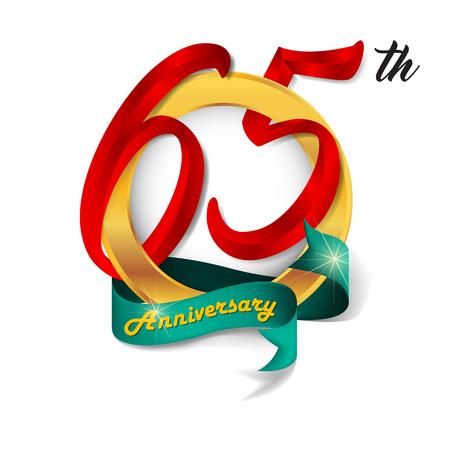 65th: Anniversary emblems 65 anniversary template design