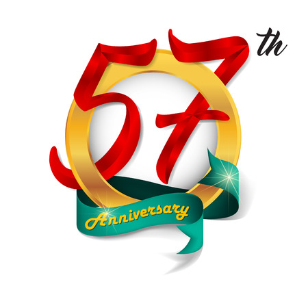 57: Anniversary emblems 57 anniversary template design Illustration