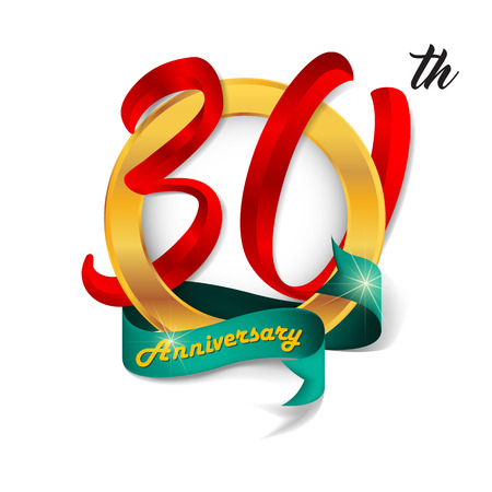 Anniversary emblems 30 anniversary template design 向量圖像