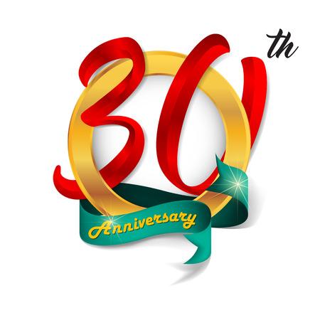 Anniversary emblems 30 anniversary template design Illustration