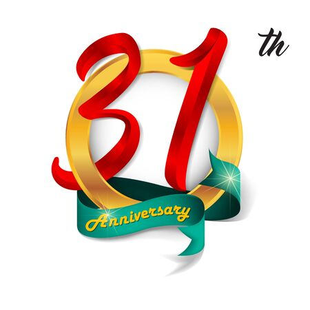 31th: Anniversary emblems 31 anniversary template design