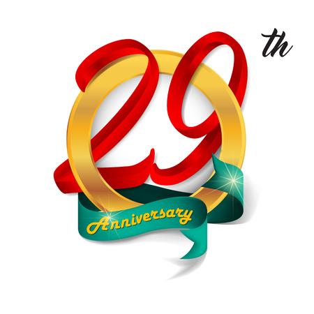 29: Anniversary emblems 29 anniversary template design