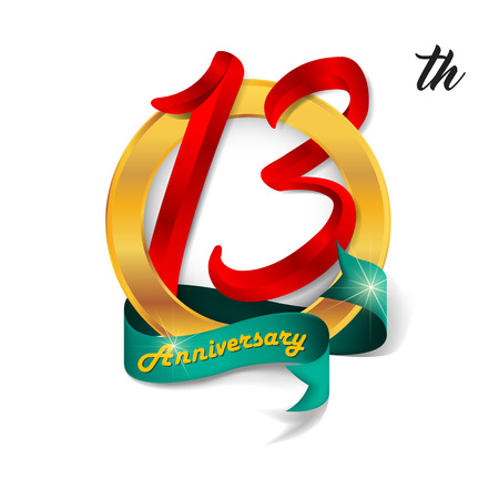 13: Anniversary emblems 13 anniversary template design