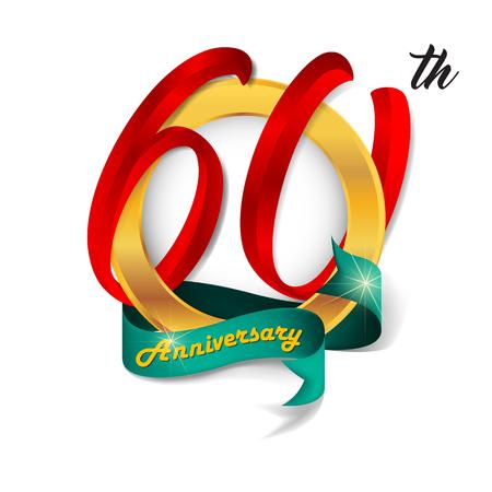 60: Anniversary emblems 60 anniversary template design Illustration