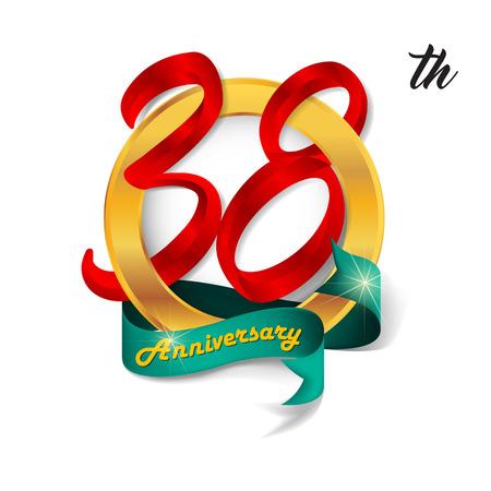 38: Anniversary emblems 38 anniversary template design