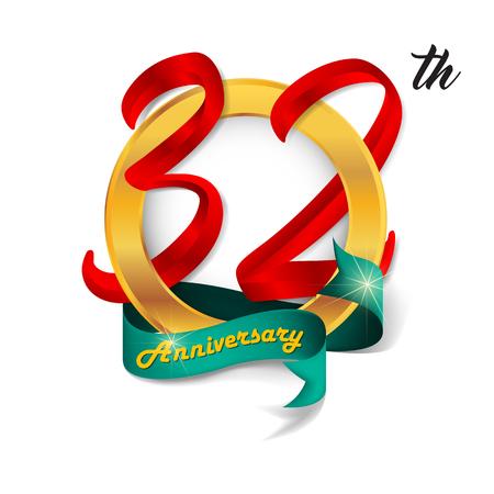 32: Anniversary emblems 32 anniversary template design