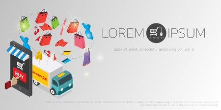 Vector concept of online shop Vector Illustration
