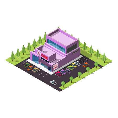 plaza: isometric infographic element representing shopping mall or supermarket or superstore building with car and tree on the blue background.