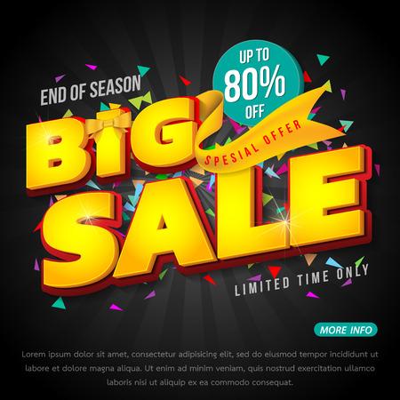 Sale banner template design, Big sale special up to 80% off. vector illustration. Illustration