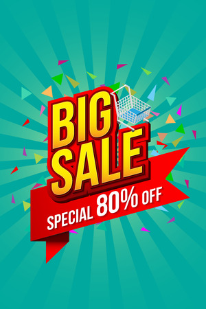Sale banner template design, Big sale special up to 80% off on red ribbon. vector illustration.