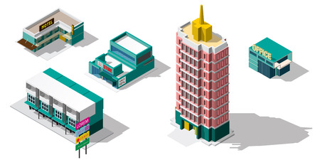 Set of 3d detailed isometric city buildings:office,tower,motel,store, skyscrapers, real estate, public buildings, hotels. Building icons collection Illustration