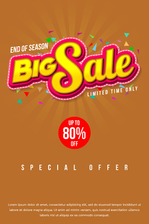 Sale banner template design, Big sale special up to 80% off. vector illustration. Illustration
