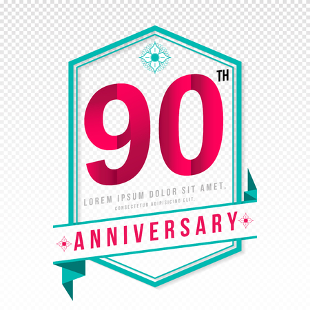 adorning: Anniversary emblems 90 anniversary template design Illustration