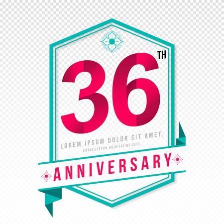 Anniversary emblems 36 anniversary template design