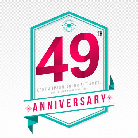 color separation: Anniversary emblems 49 anniversary template design Illustration