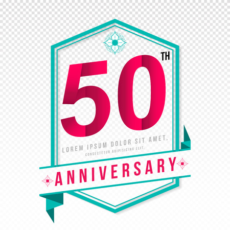 color separation: Anniversary emblems 50 anniversary template design Illustration