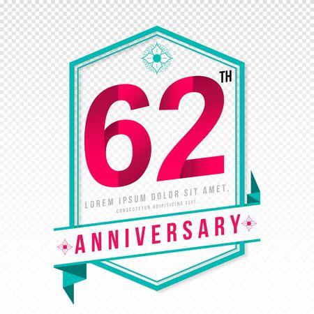 color separation: Anniversary emblems 62 anniversary template design