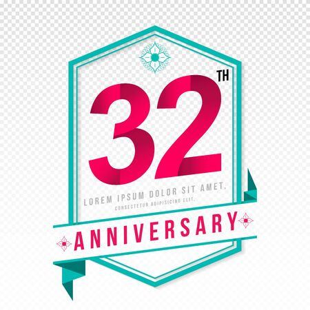 Anniversary emblems 32 anniversary template design