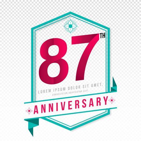 adorn: Anniversary emblems 87 anniversary template design
