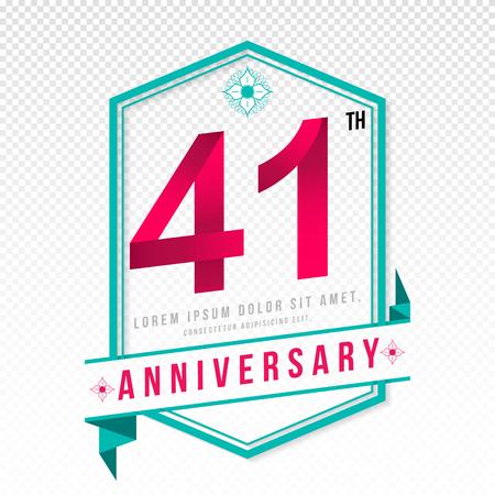 color separation: Anniversary emblems 41 anniversary template design Illustration