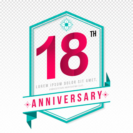 color separation: Anniversary emblems 18 anniversary template design