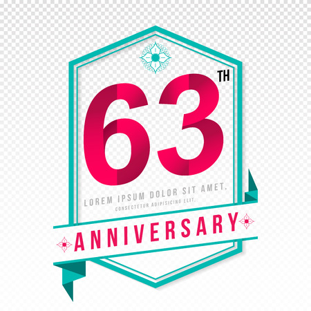 adorn: Anniversary emblems 63 anniversary template design