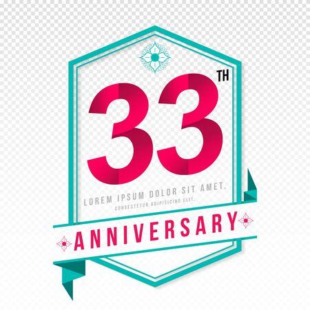 adorn: Anniversary emblems 33 anniversary template design Illustration