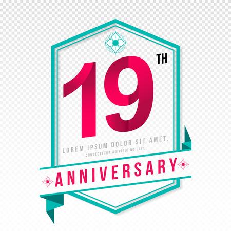 color separation: Anniversary emblems 19 anniversary template design