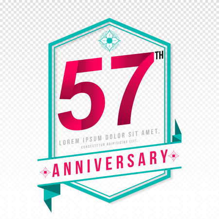 adorn: Anniversary emblems 57 anniversary template design Illustration