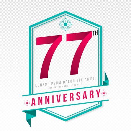 adorn: Anniversary emblems 77 anniversary template design