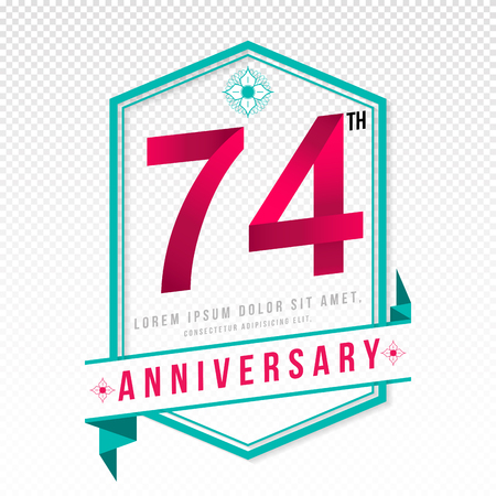 adorning: Anniversary emblems 74 anniversary template design Illustration
