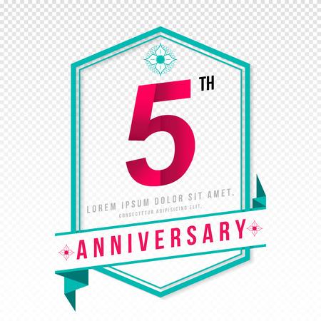 adorn: Anniversary emblems 5 anniversary template design