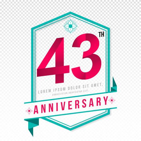 adorn: Anniversary emblems 43 anniversary template design Illustration