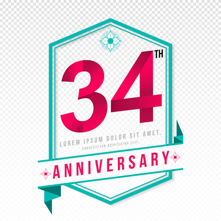 adorning: Anniversary emblems 34 anniversary template design Illustration